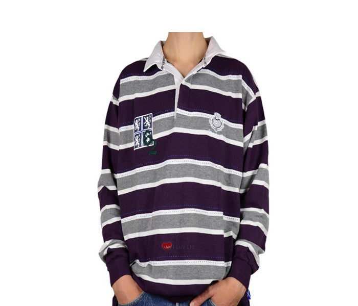 Edinburgh Rugby Shirt Purple Grey Long Sleeve Rugby Nations