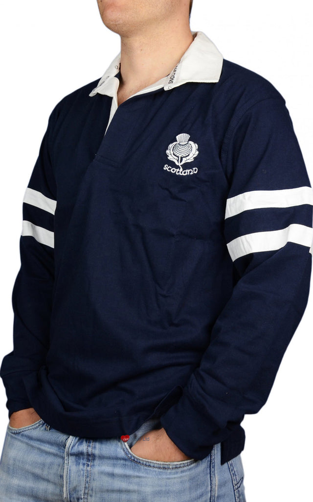 Scottish Rugby Shirt 2 Stripe and Thistle Long Sleeve Navy