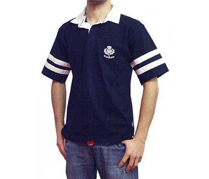 Mens Rugby Shirt Scotland 2 Stripe Short Sleeve Navy