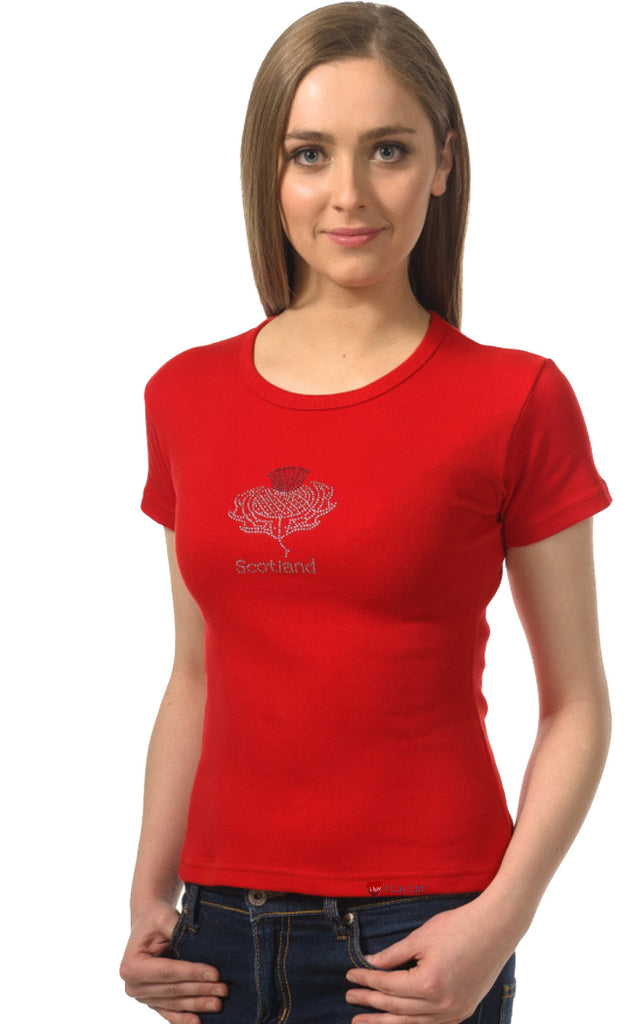 Ladies T-Shirt Glitter Thistle Red