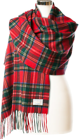 Cashmere Stole in Black Watch Tartan