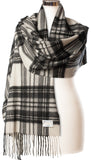 Cashmere Stole in Stewart Grey Dress Tartan