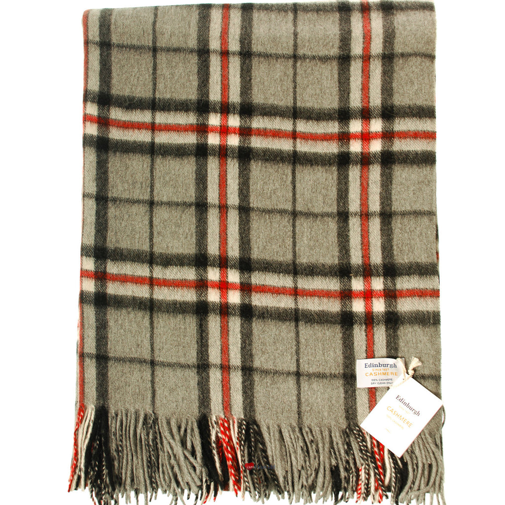 Cashmere Throw in Thomson Grey Tartan - iluvcashmere