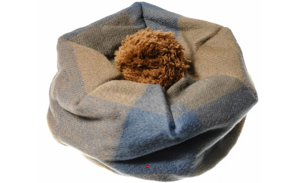 Lambswool Tammy Hat in Blue and Camel Check