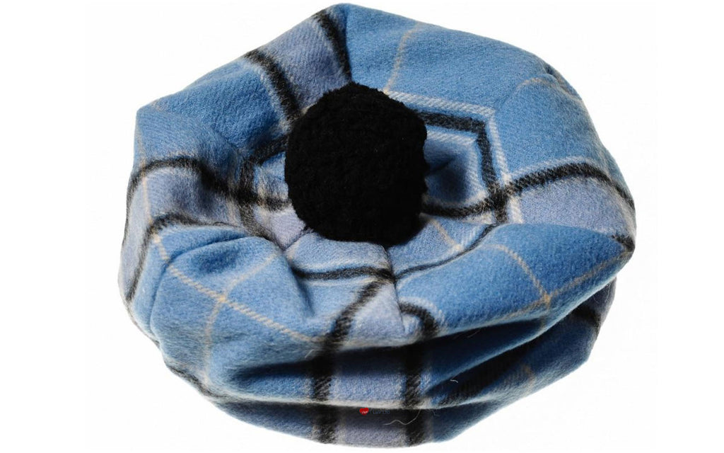 Lambswool Tammy Hat in Blue Check
