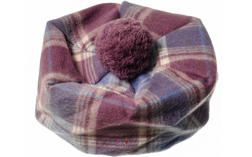 Lambswool Tammy Hat in Light Blue and Lilac Check