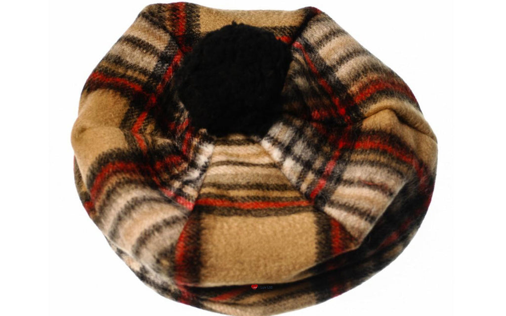Lambswool Tammy Hat in Stewart Camel Tartan