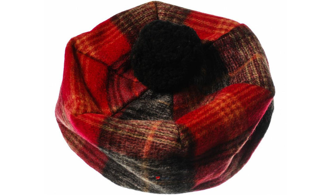 Lambswool Tammy Hat in Red and Grey Check
