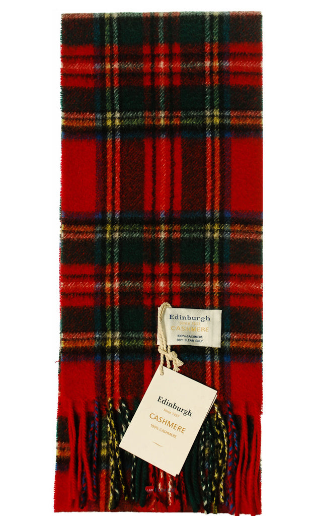 Kids Edinburgh Cashmere Scarf in Royal Stewart Tartan - iluvcashmere