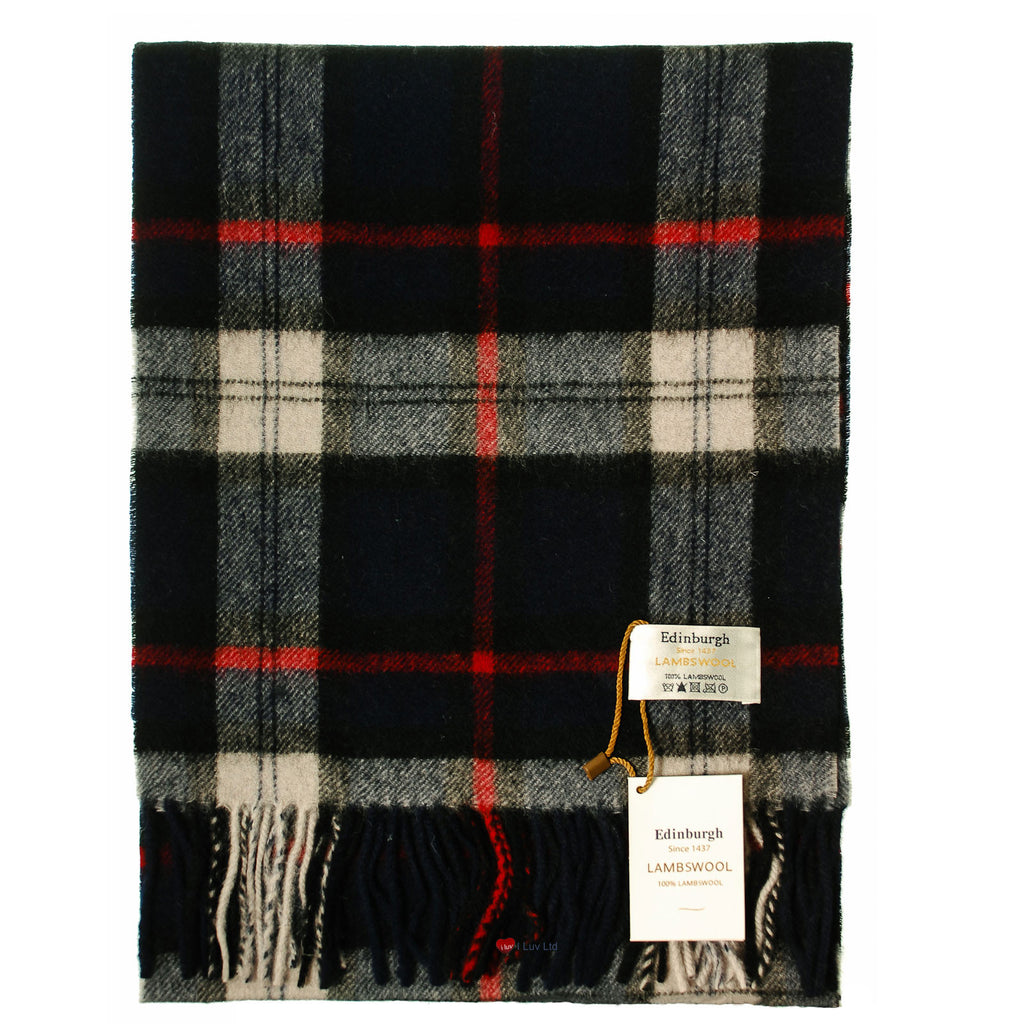 Edinburgh Pure Lambswool Scarf in Grey Check