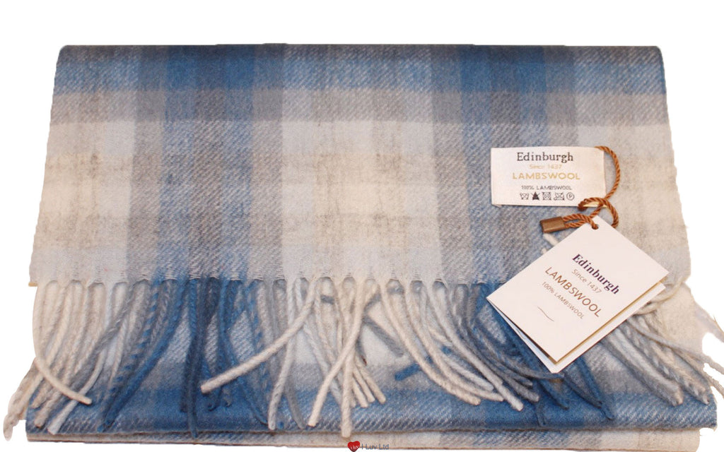 Edinburgh Pure Lambswool Scarf in Off White and Sapphire Double Check