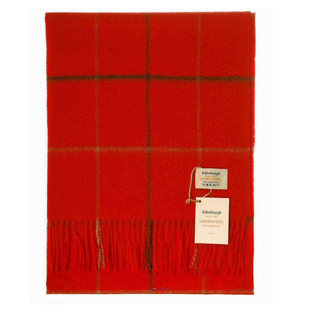 Edinburgh Pure Lambswool Scarf in Red and Grey Check