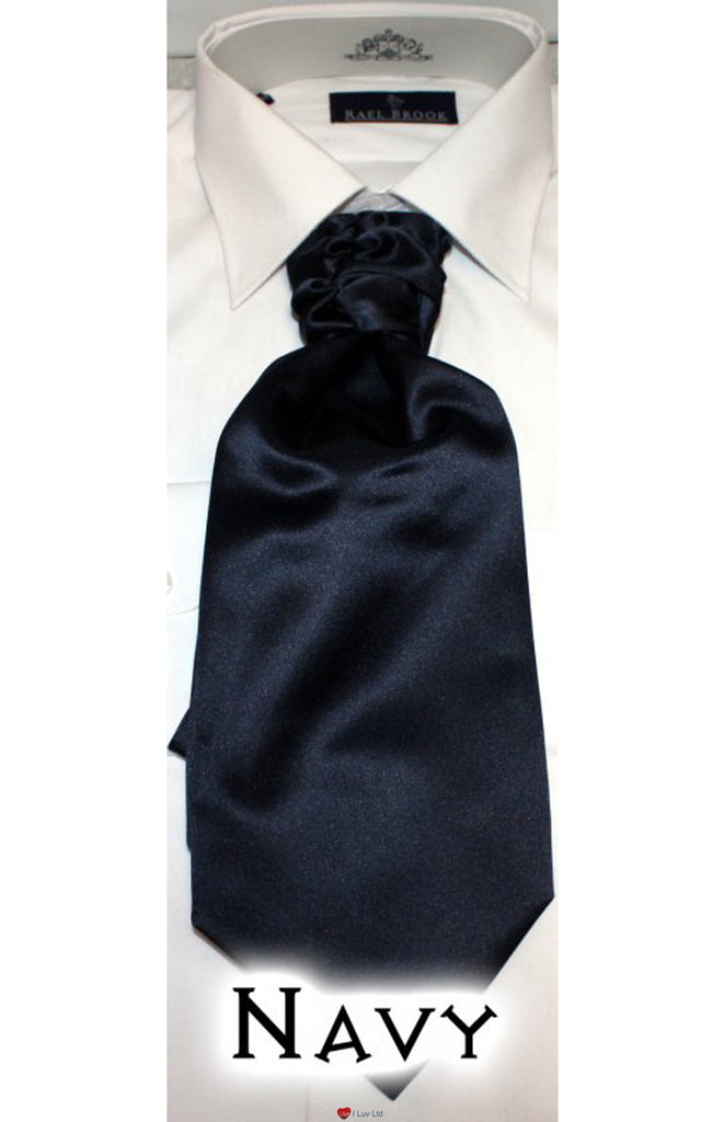 Mens Formal Ruched Satin Tie Navy Blue