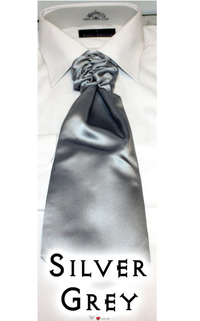 Mens Formal Ruched Satin Tie Silver Grey