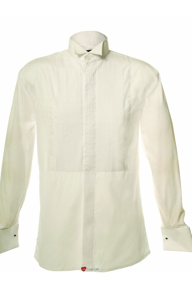 Mens Pleated Front Shirt with Wing Collar White