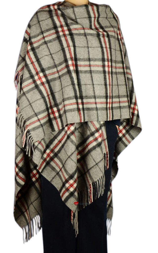 Ladies Cashmere Cape in Thomson Grey Tartan