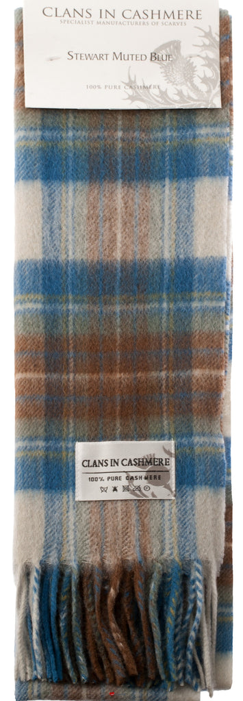 Cashmere Clan Scarf Stewart Muted Blue