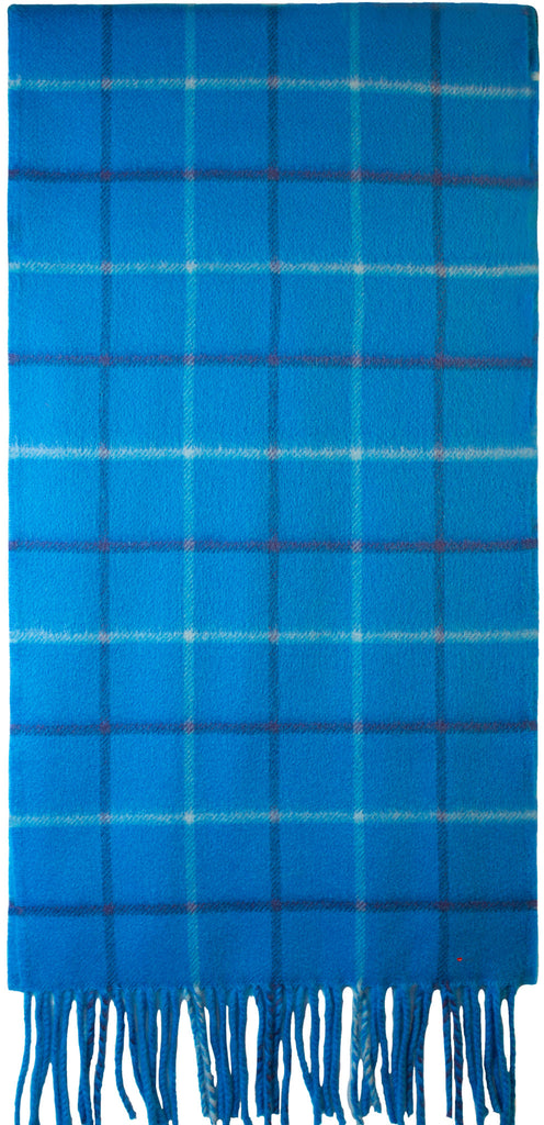Windowpane Turquoise Luxurious Scarf in 100% Cashmere - iluvcashmere