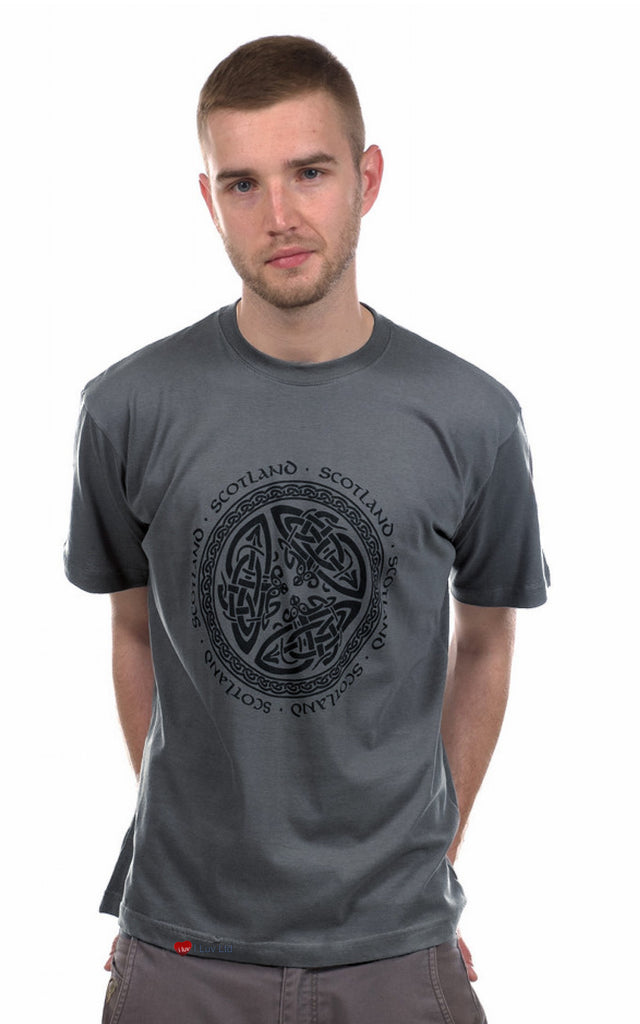 T-Shirt Celtic Circle Black on Pistol Grey