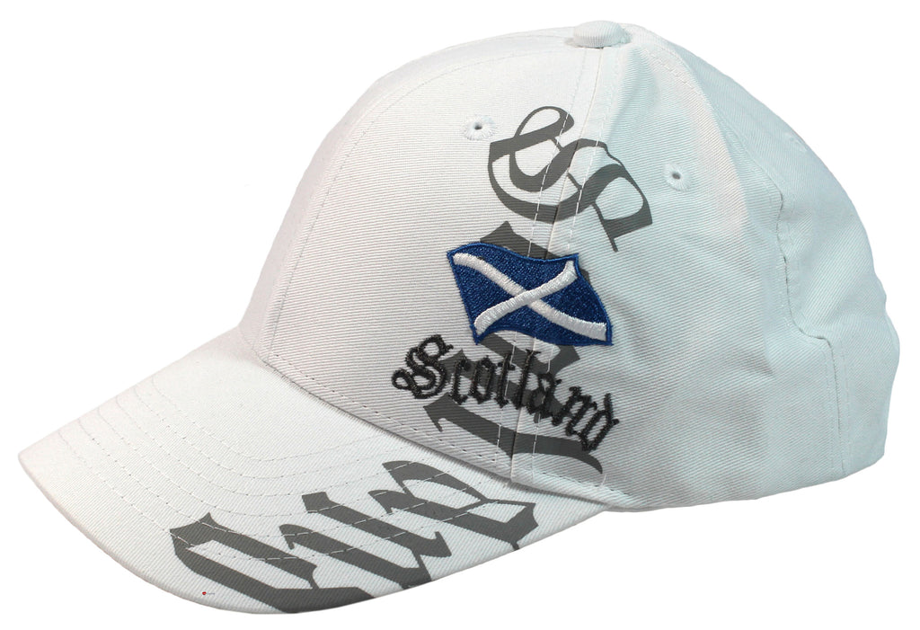 Baseball Cap Scotland Vertical White