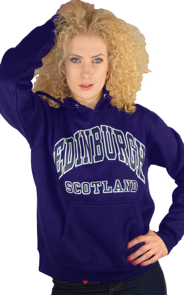 Girls Hoodie Top Edinburgh Scotland Purple