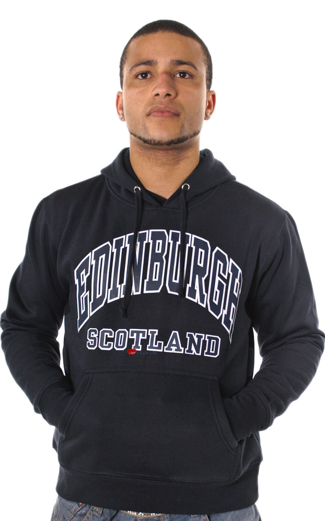 Mens Hoodie Top Edinburgh Scotland Black