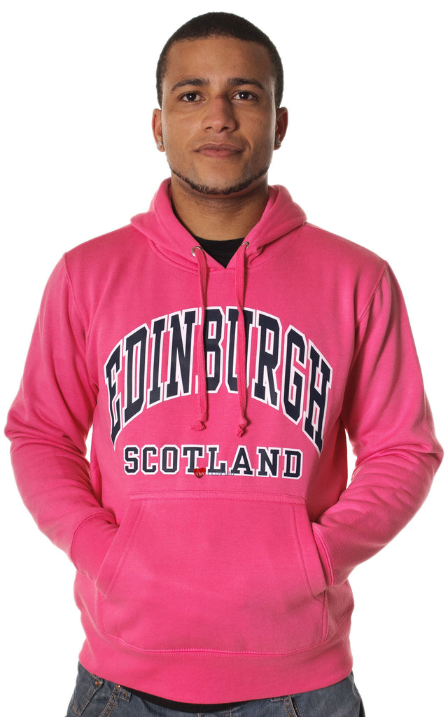 Mens Hoodie Top Edinburgh Scotland Fuschia