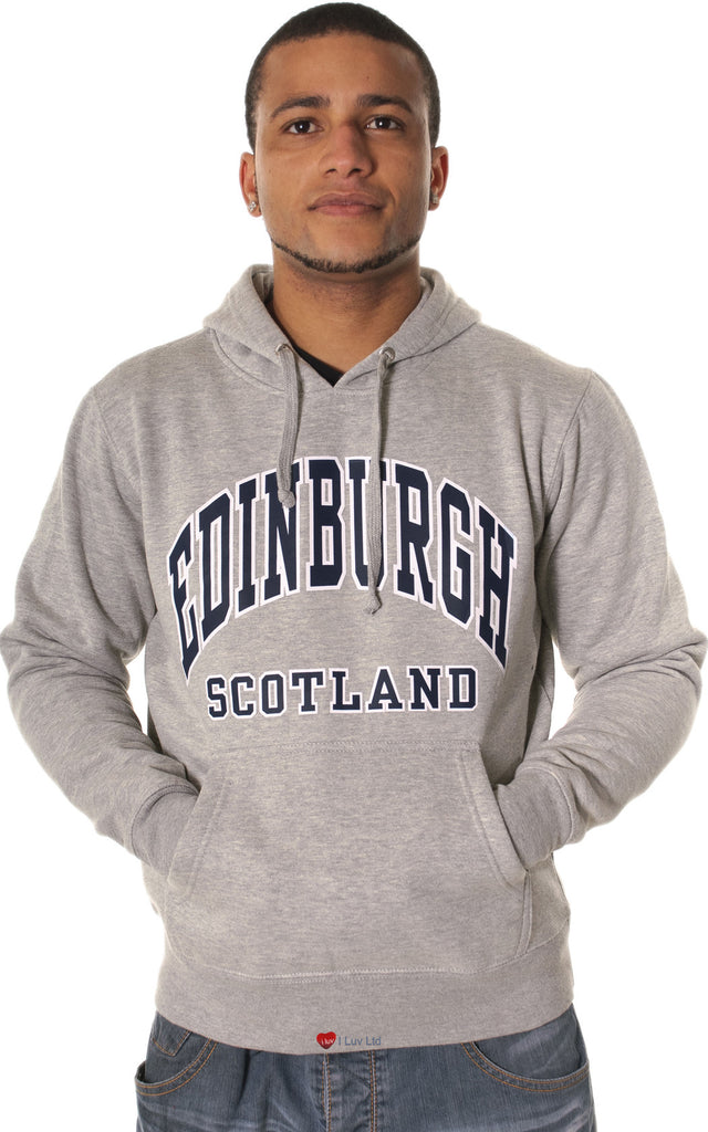 Mens Hoodie Top Edinburgh Scotland Light Grey