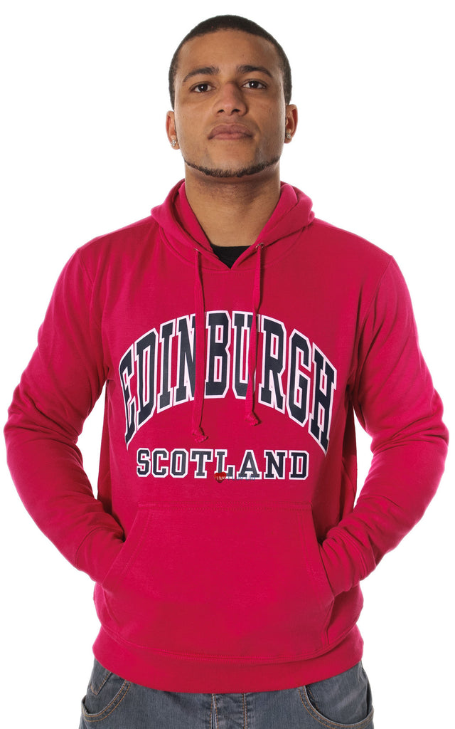 Mens Hoodie Top Edinburgh Scotland Hot Pink