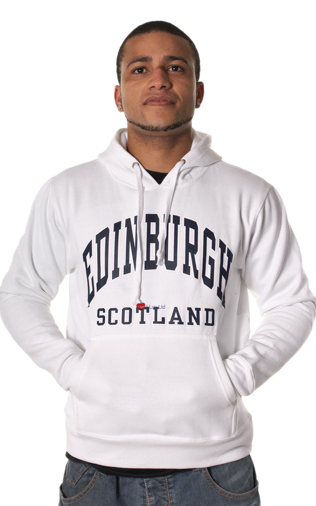 Mens Hoodie Top Edinburgh Scotland White