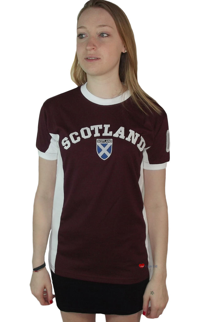 Womens Scotland No 9 T-Shirt Burgundy