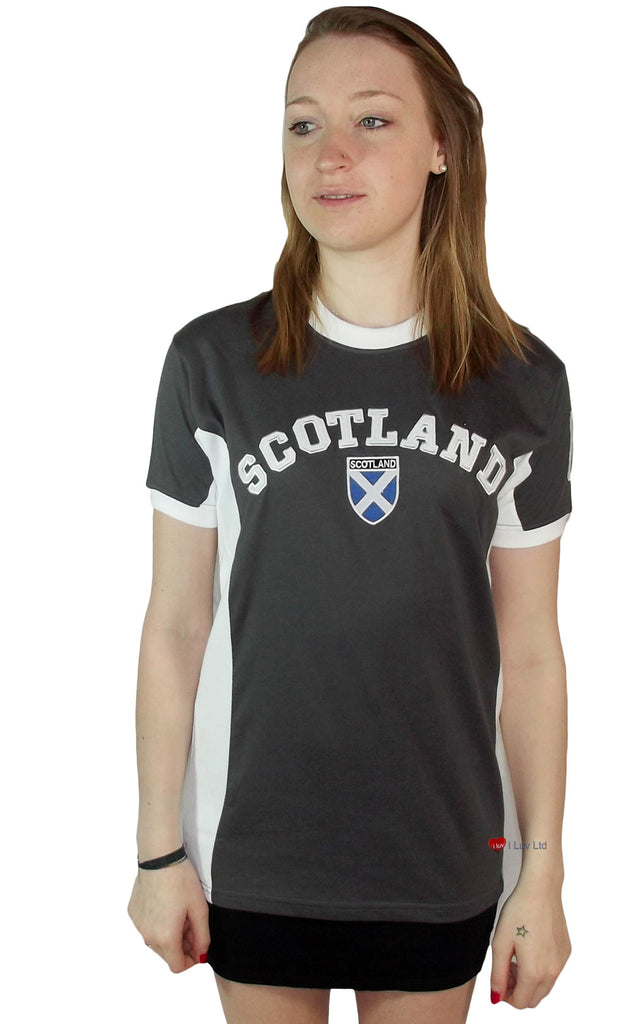 Ladies Scotland No 9 T-Shirt Marl Charcoal Grey