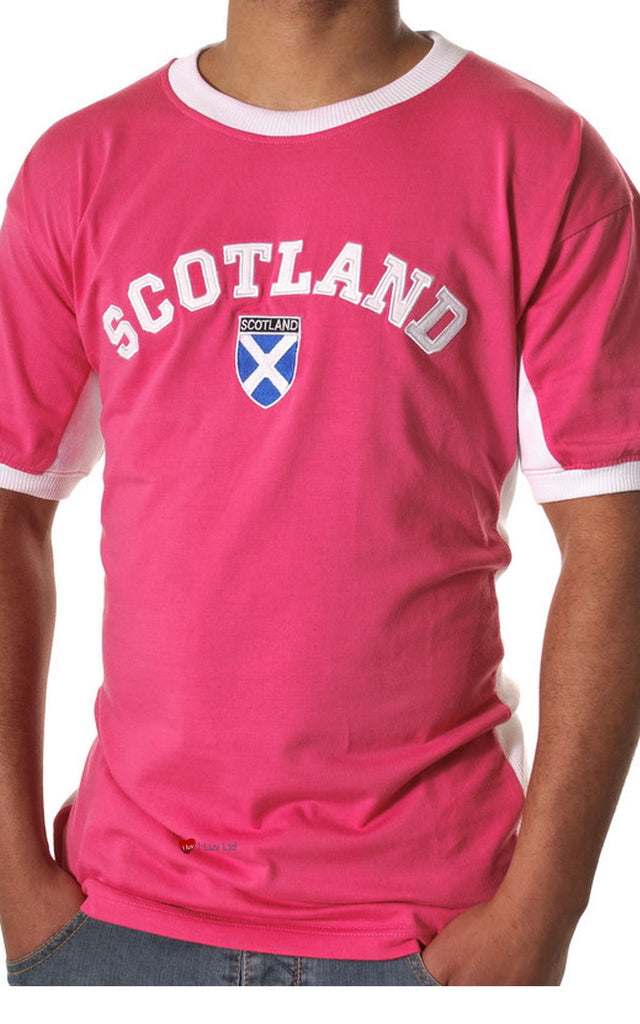 Mens Scotland No 9 T-Shirt Hot Pink