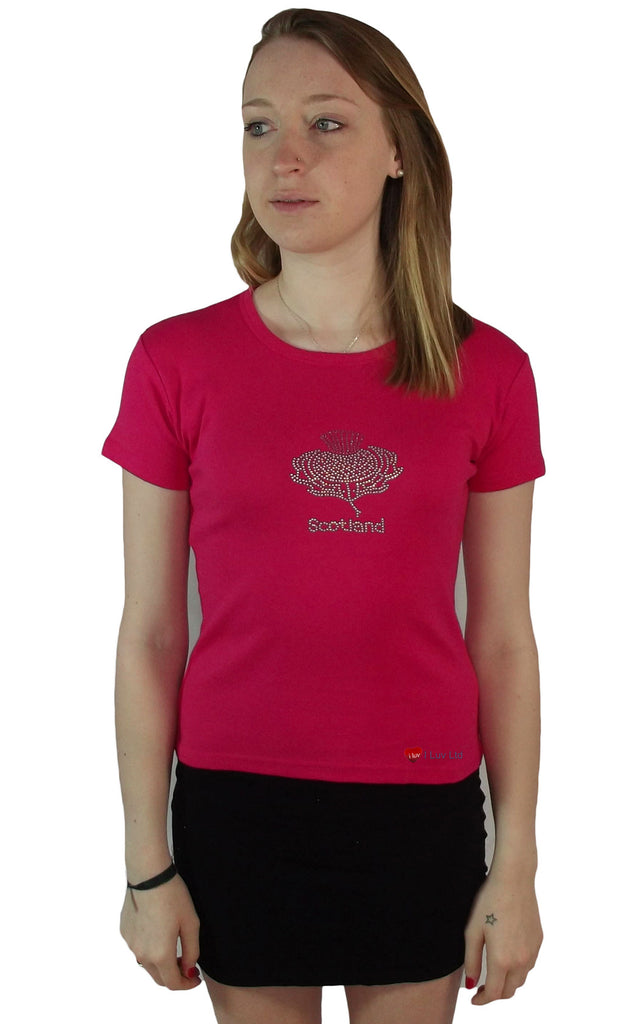 Ladies T-Shirt Glitter Thistle Hot Pink