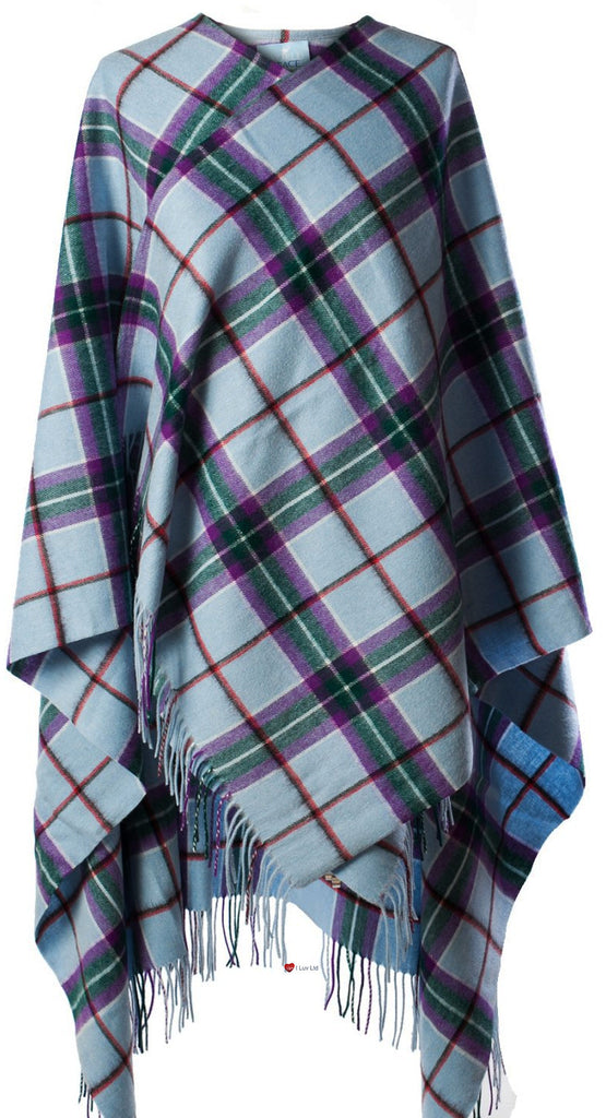 100% Lambswool Cape with World Peace Tartan Design