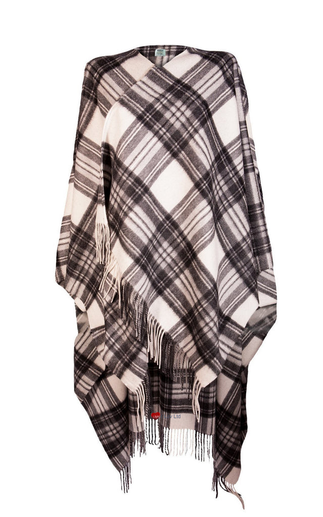 Ladies Luxurious Cashmere Cape in Stewart Grey Dress Tartan - iluvcashmere
