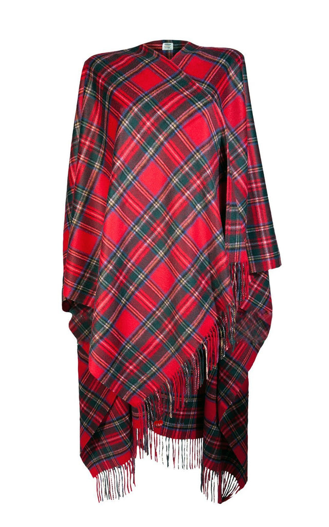 Ladies Luxurious Cashmere Cape in Royal Stewart Tartan - iluvcashmere