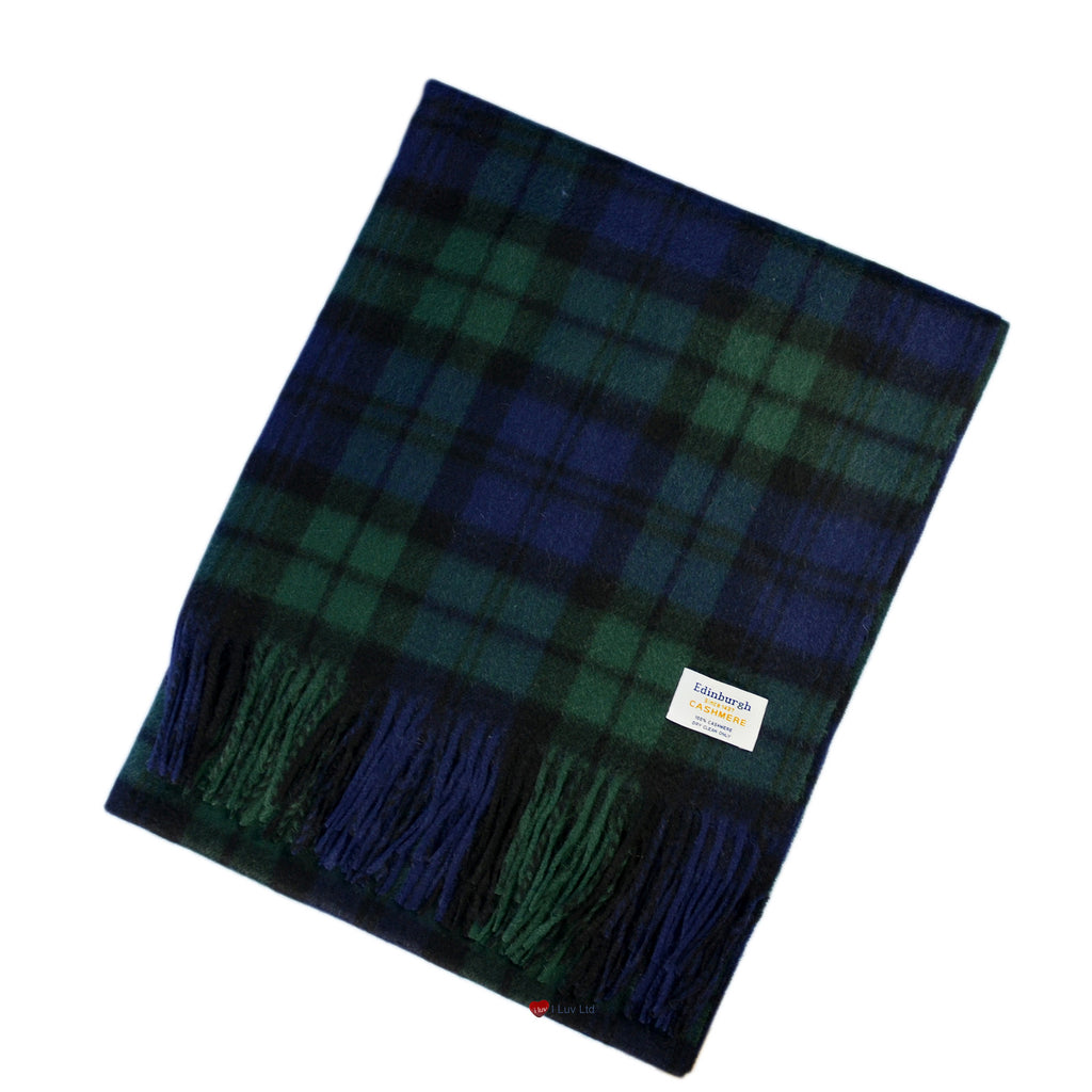 Cashmere Stole in Black Watch Tartan - iluvcashmere