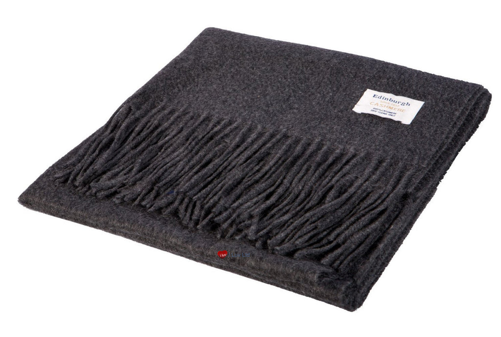 Cashmere Stole in Charcoal Grey - iluvcashmere