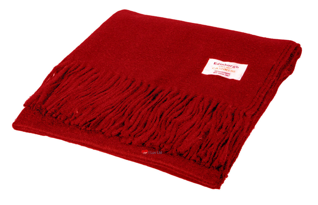 Cashmere Stole in Rich Vibrant Red - iluvcashmere
