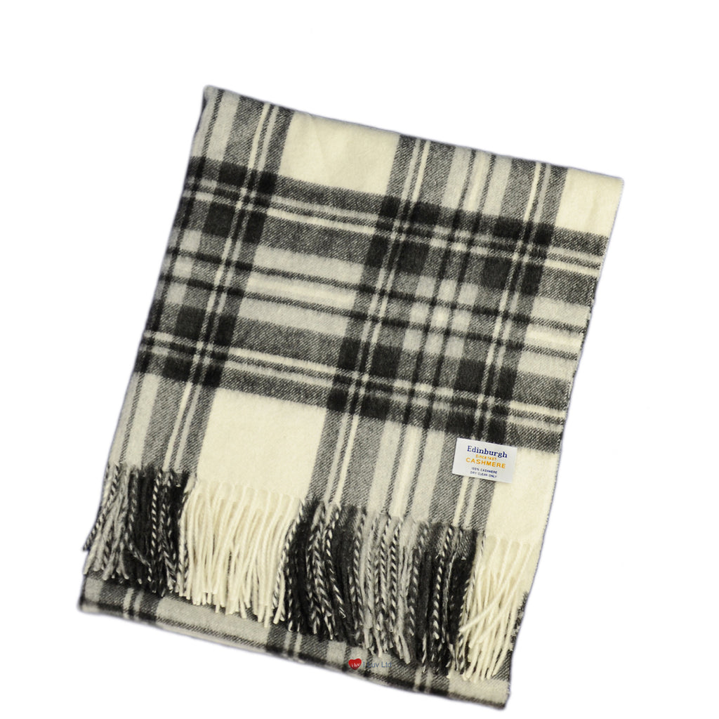 Cashmere Stole in Stewart Grey Dress Tartan - iluvcashmere