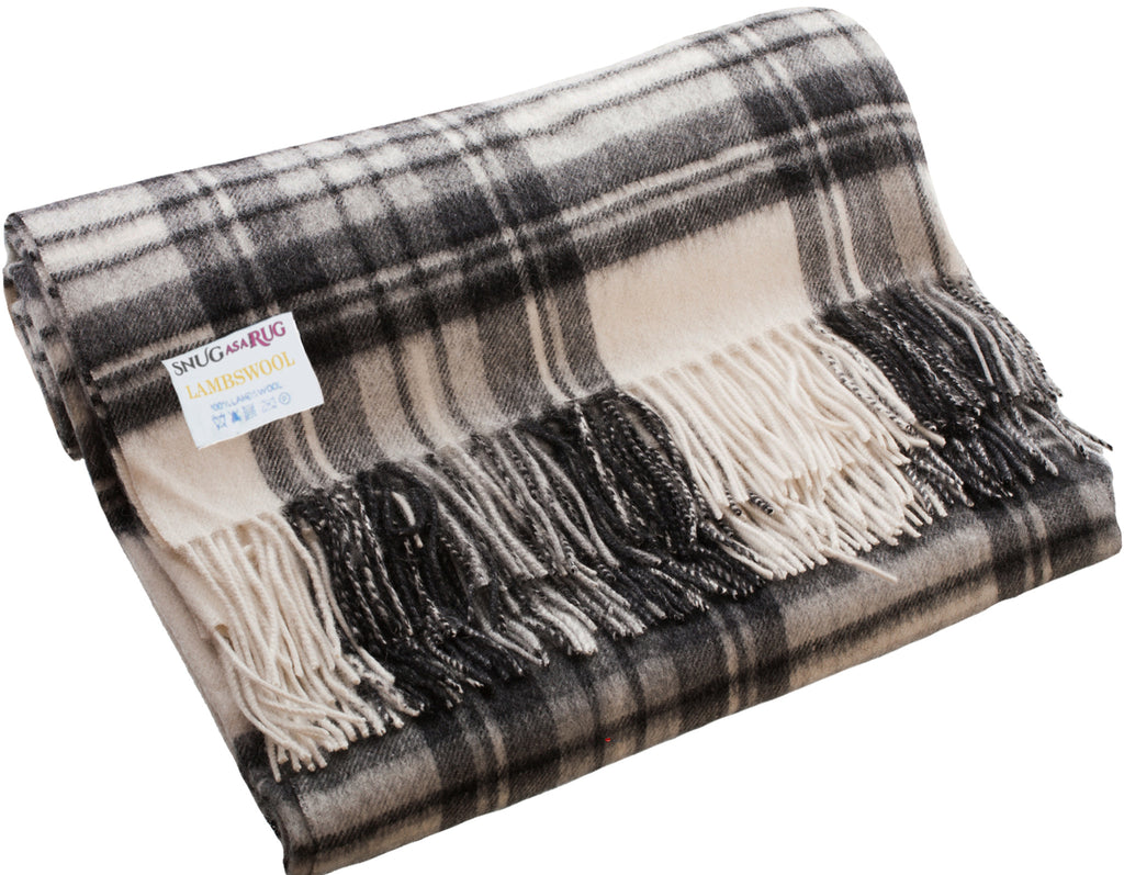 Lambswool Throw in Stewart Grey Dress Tartan