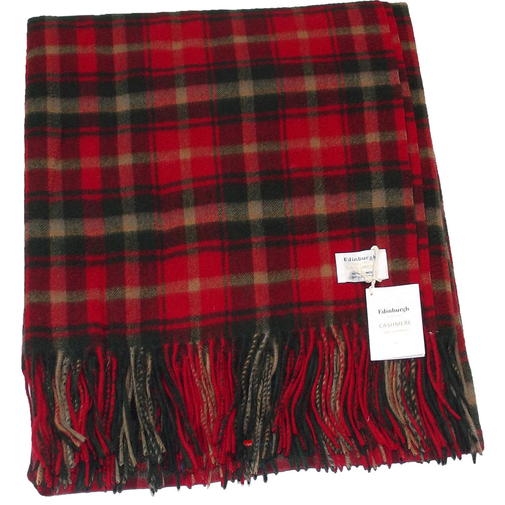 Cashmere Throw in Dark Maple Tartan - iluvcashmere
