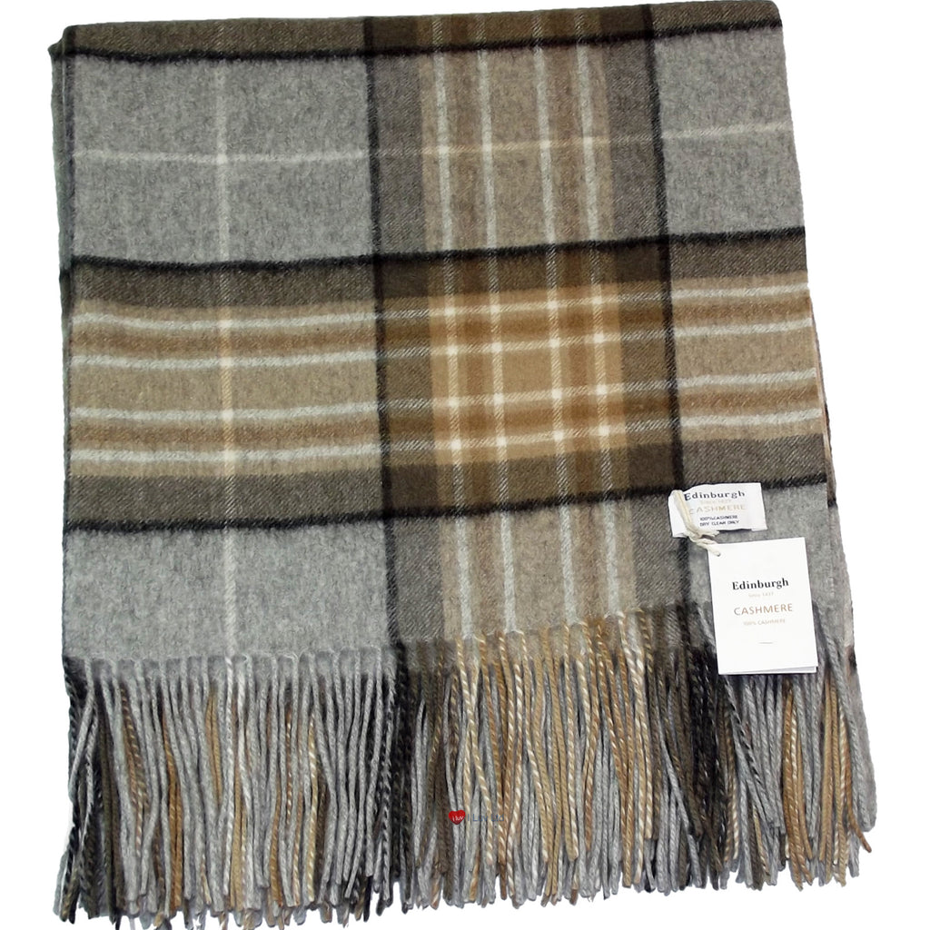 Cashmere Throw in MacKellar Natural Tartan - iluvcashmere