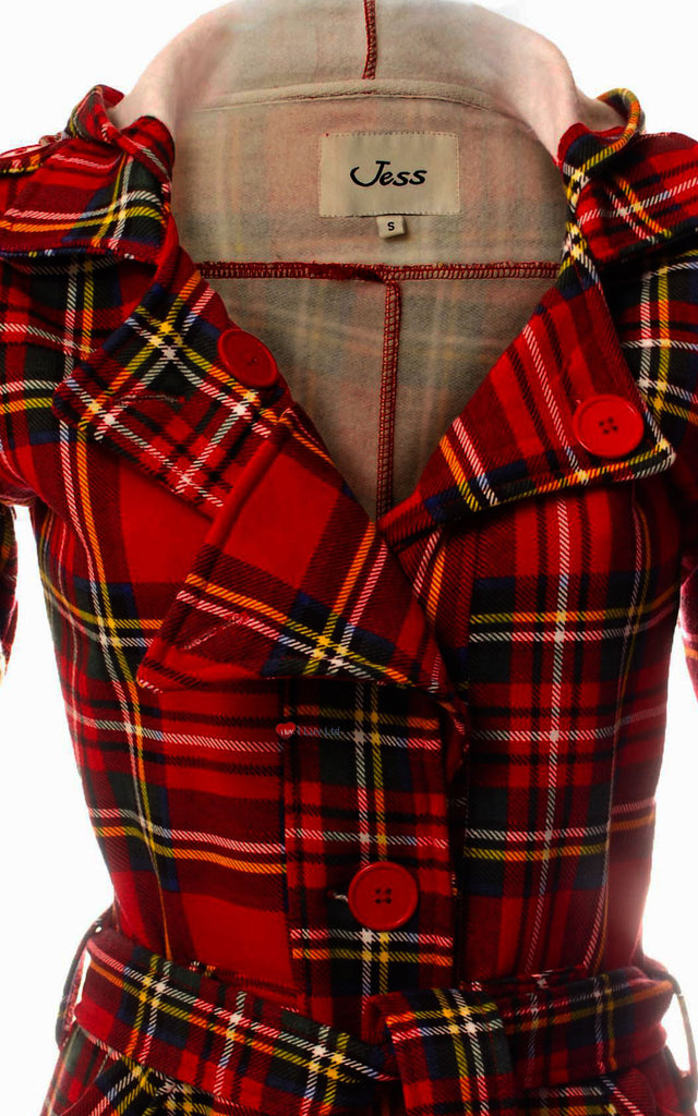 Ladies Jess Long Coat Hooded with Tie Belt Royal Stewart Tartan