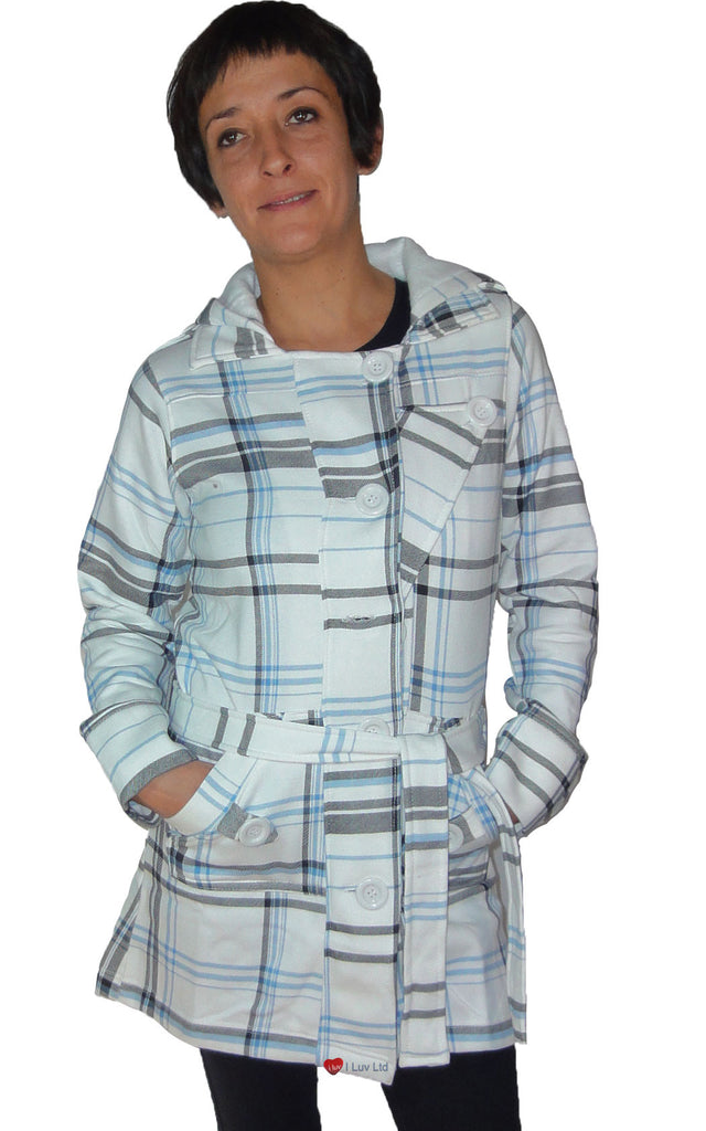 Ladies Jess Long Coat Hooded with Tie Belt White Black Blue Check