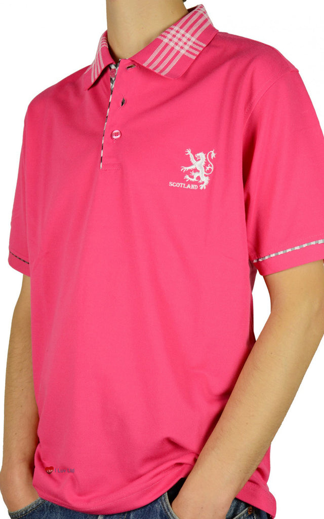 Mens Scotland Lion Tartan Collar Polo Shirt Hot Pink