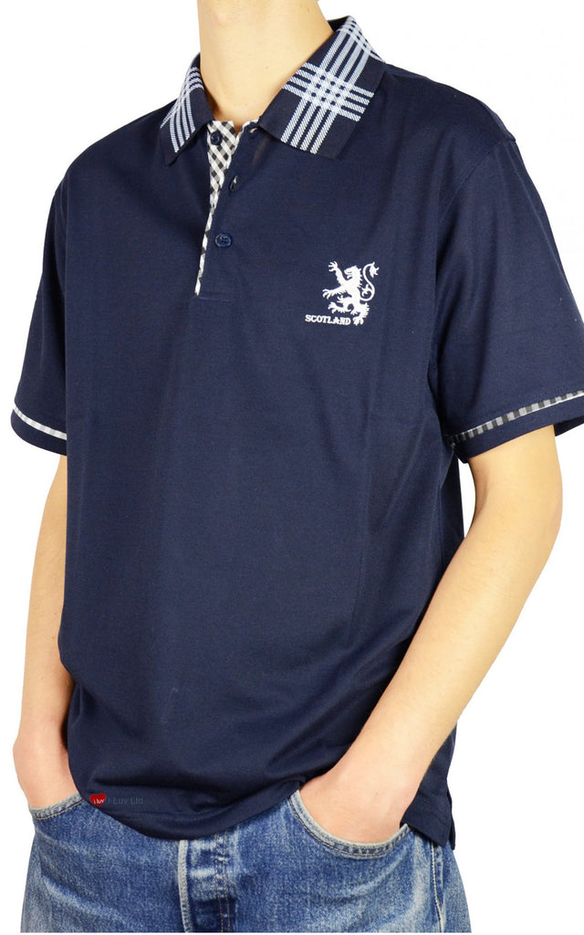 Mens Scotland Lion Tartan Collar Polo Shirt Navy Blue