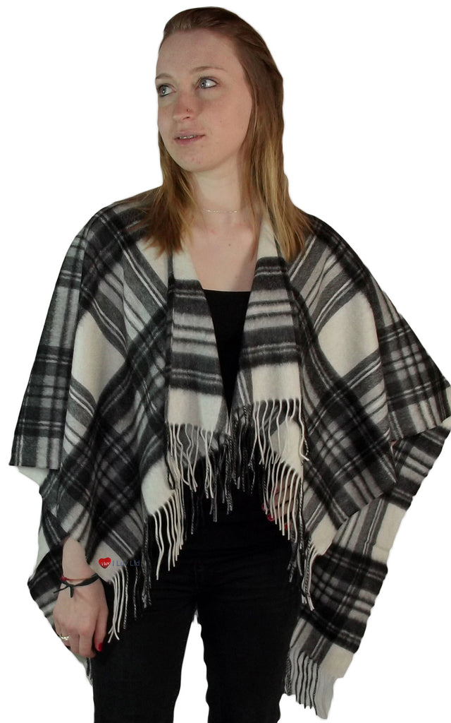 Ladies Lambswool Cape in Stewart Grey Dress Tartan