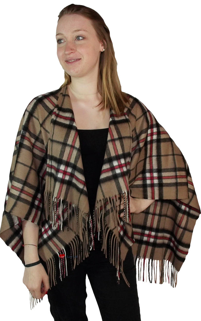 Ladies Lambswool Cape in Thomson Camel Tartan
